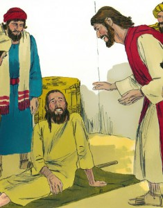 Illustration of Jesus healing a man with palsy.